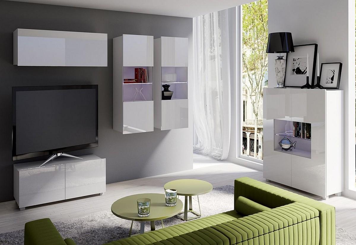 Obývací sestava BRINICA NR12, bílá/bílá lesk + bílé LED