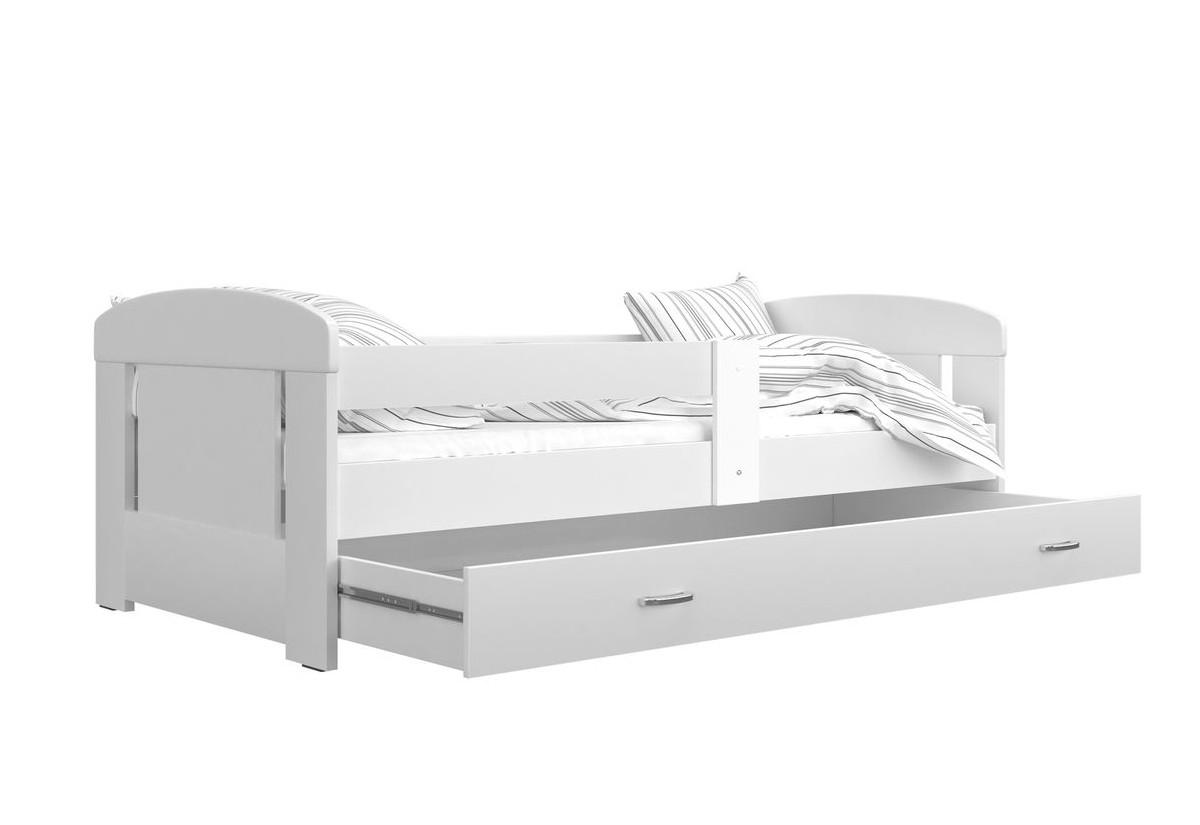 Dětská postel JAKUB P1 COLOR, 80x160, včetně ÚP, bílý/bílý