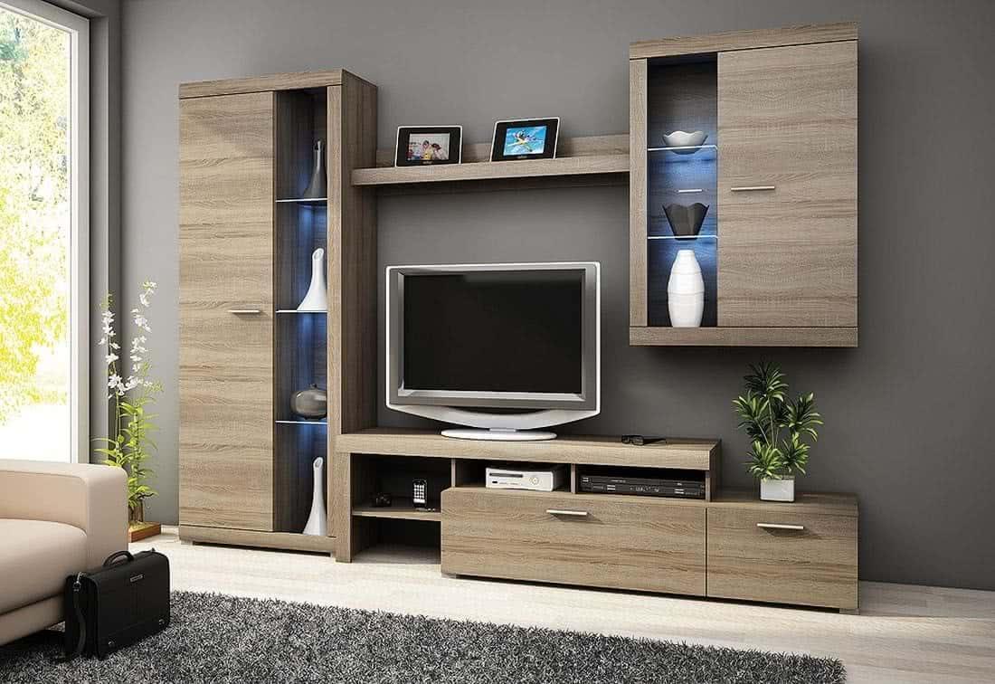 Obývací stěna MEDUNA + LED, 280/197/32-45, dub lanýž (truflový)