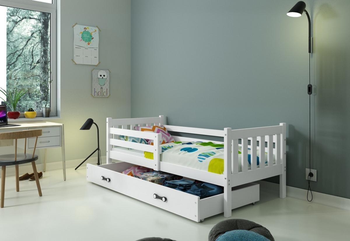 Dětská postel RINOCO P1 + ÚP + matrace + rošt ZDARMA, 190x80, bílý