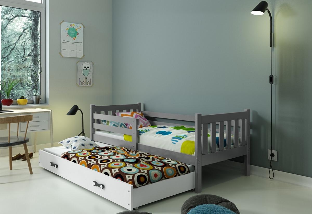 Dětská postel RINOCO 2 + matrace + rošt ZDARMA, 190x80, grafit