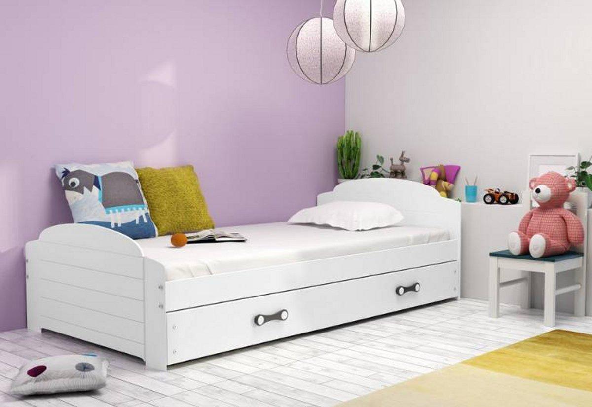 Dětská postel DOUGY P2 + matrace + rošt ZDARMA, 90x200, bílý, bílá