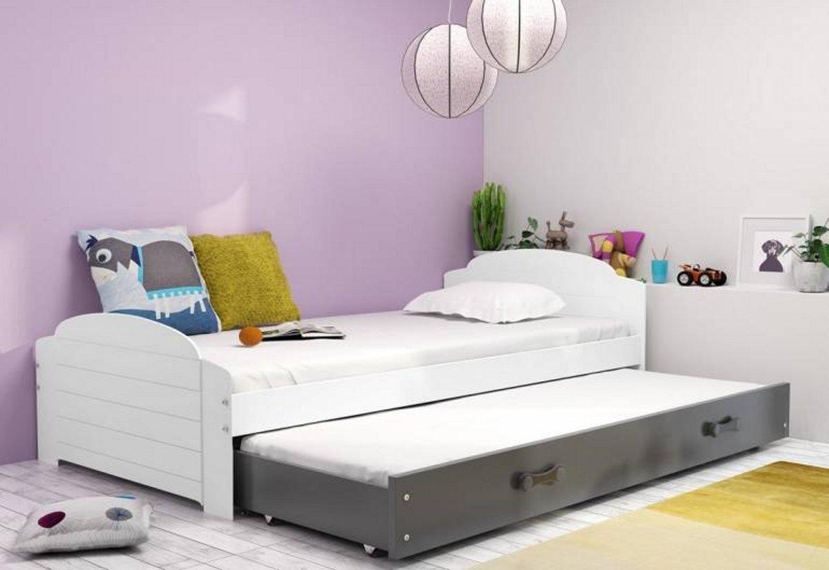 Dětská postel DOUGY P2 + matrace + rošt ZDARMA, 90x200, bílý, grafitová
