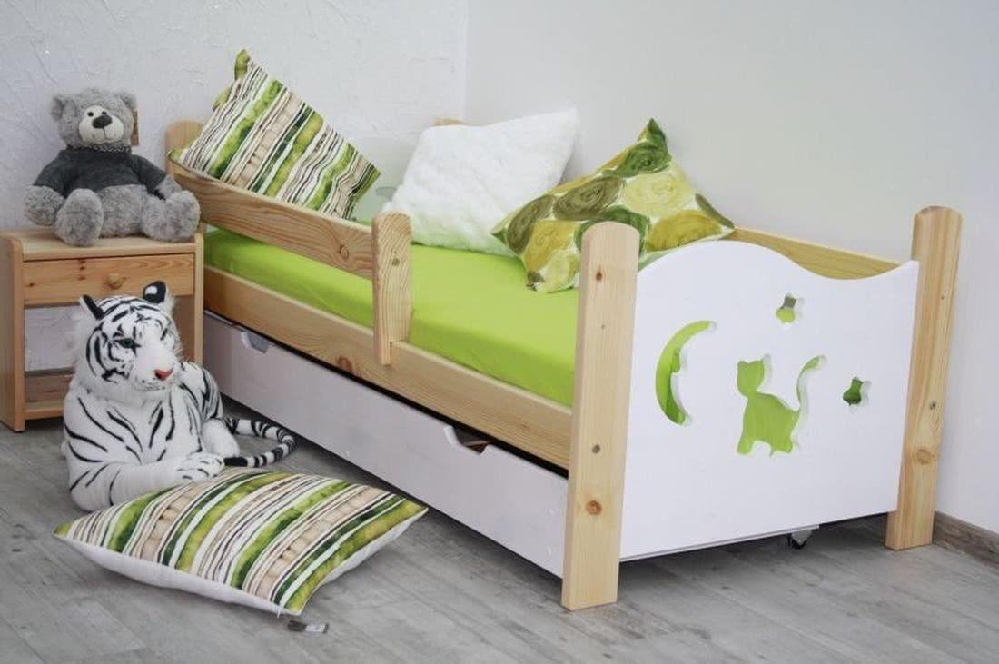 Dětská postel se zábranou MICI s přírodním úložným prostorem + matrace + rošt ZDARMA, borovice/bílá, 160x70 cm