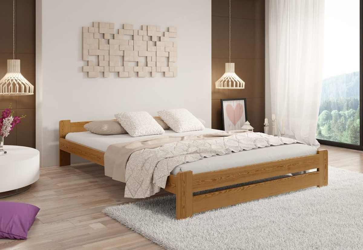 Postel z masivu HERA + sendvičová matrace MORAVIA + rošt, 200 x 200 cm, dub-lak