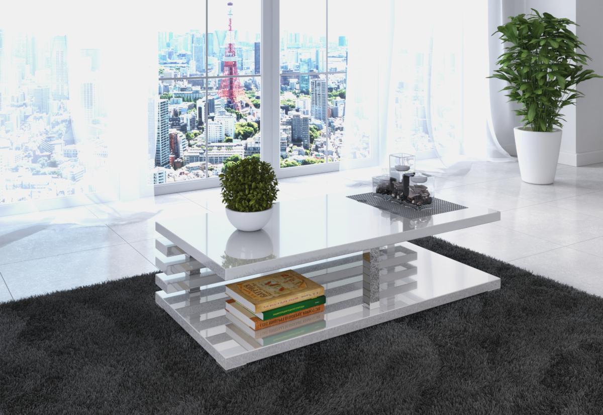 Konferenční stolek XELA, 120x31x60, bílý lesk