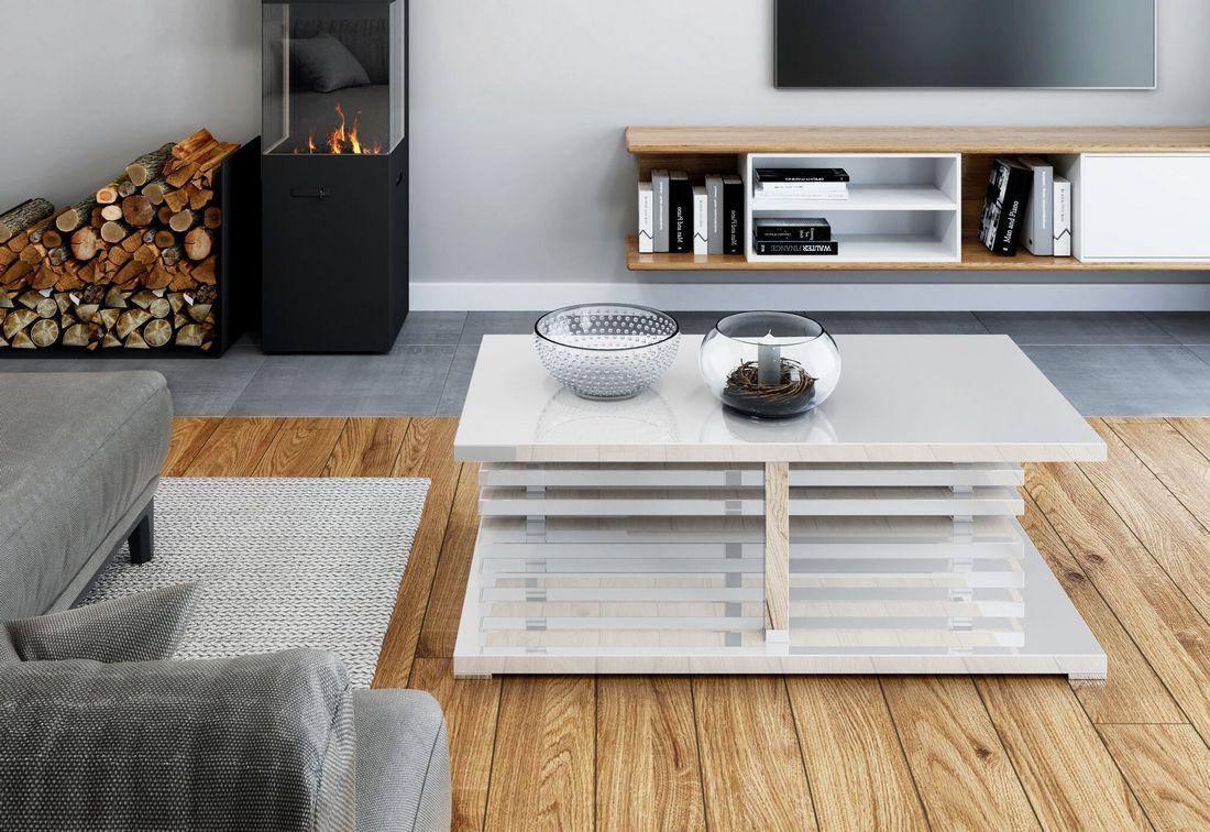 Konferenční stolek XELA, 120x44x60, bílý lesk