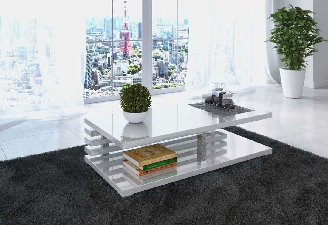 Konferenční stolek XELA, 120x50,5x60, bílý lesk
