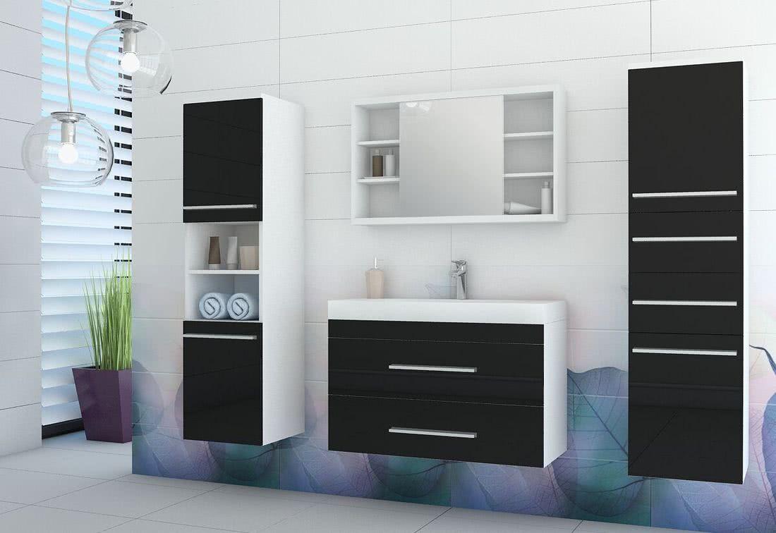 Koupelnová sestava + umyvadlo KOLI, bílá/černý lesk