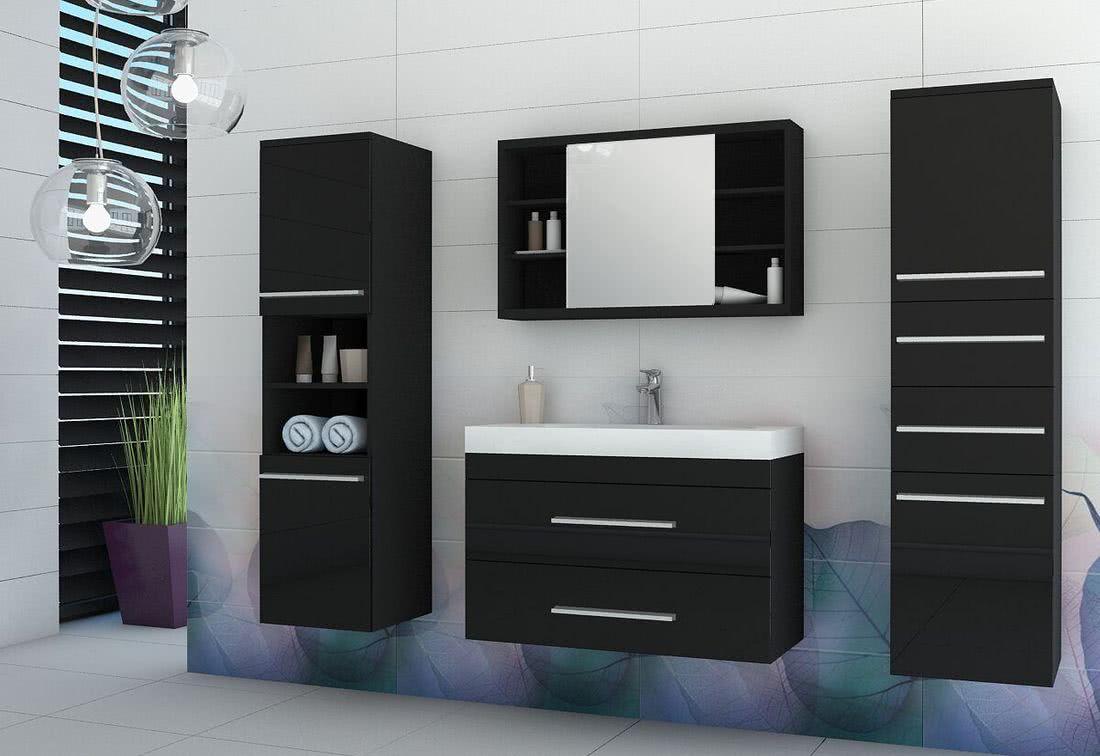 Koupelnová sestava + umyvadlo KOLI, černá/černý lesk