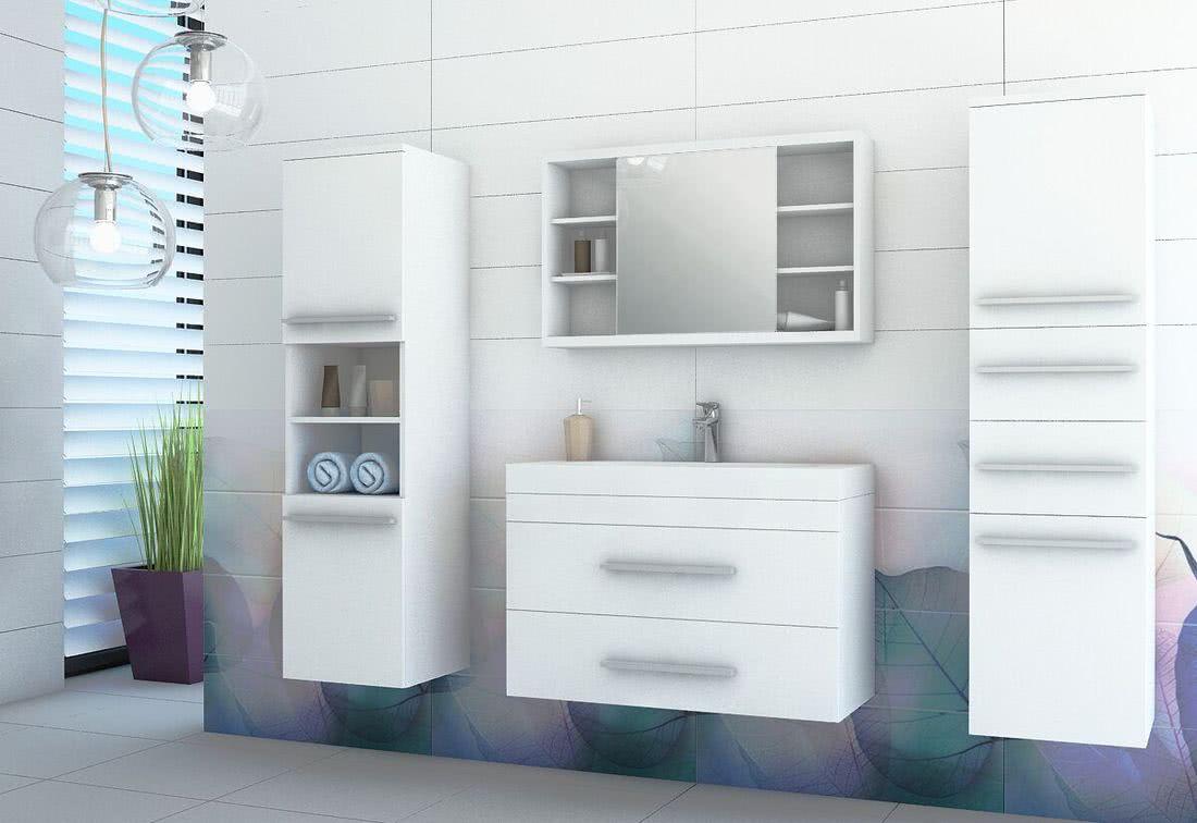Koupelnová sestava + umyvadlo KOLI, bílá/bílý lesk