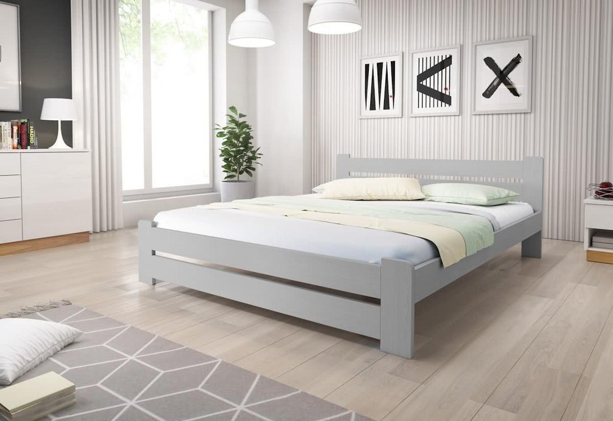 Postel HEUREKA + pěnová matrace DE LUX 14 cm + rošt 140 x 200 cm, šedá