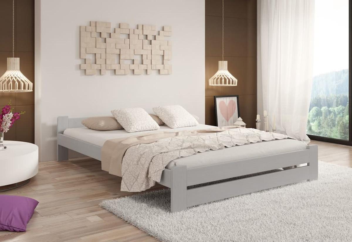 Postel z masivu HERA + pěnová matrace DE LUX 14 cm + rošt, 200 x 200 cm, šedá