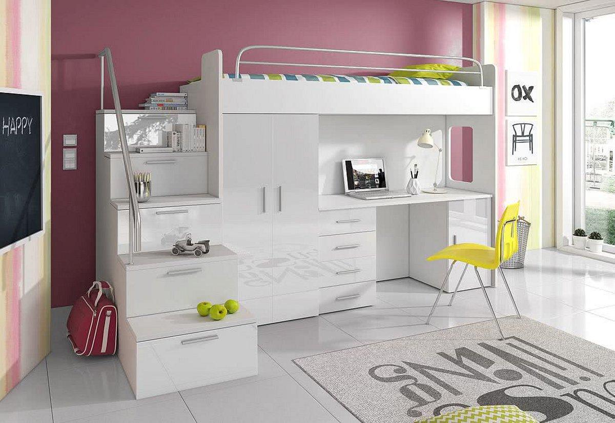 Dětská patrová postel DARCY IVs COLOR, 80x200, univerzální orientace, bílá/bílá lesk