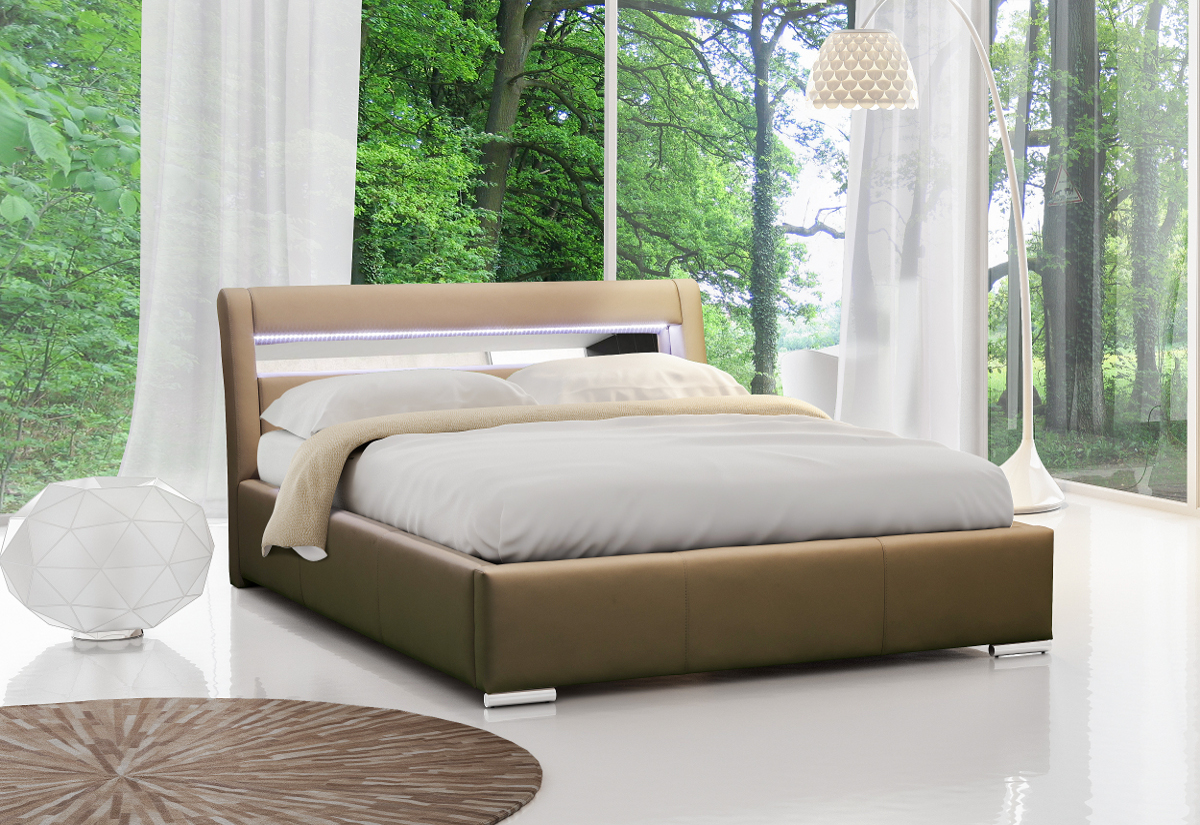 Čalouněná postel ZENONE s led osvětlením a matrací, 120x200