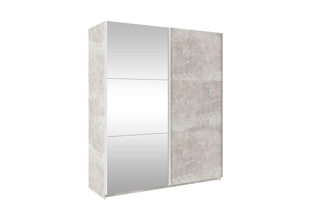 Posuvná šatní skříň se zrcadlem TRUDY, 170 cm, beton