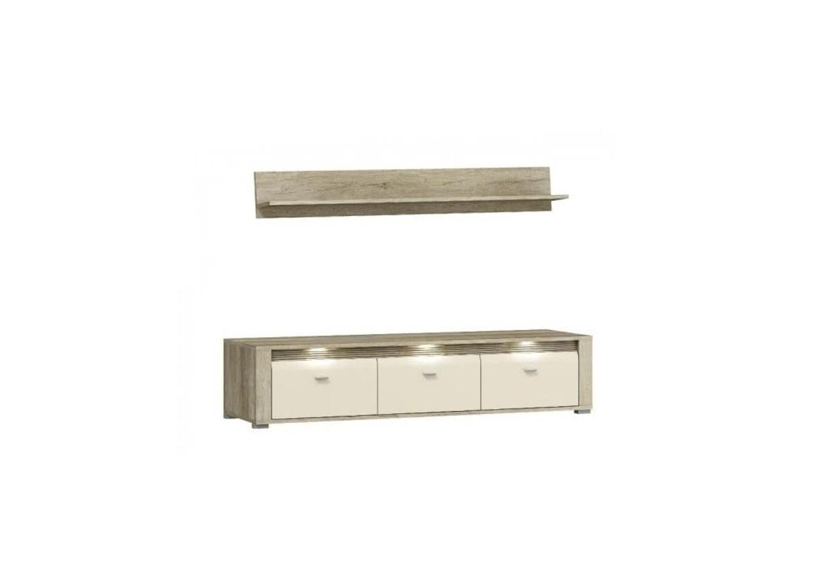 TV stolek CRTV154 + polička P140 CAPREZE, + LED, 154/34/45 + 140/20/22, country šedý/jasmín lesk