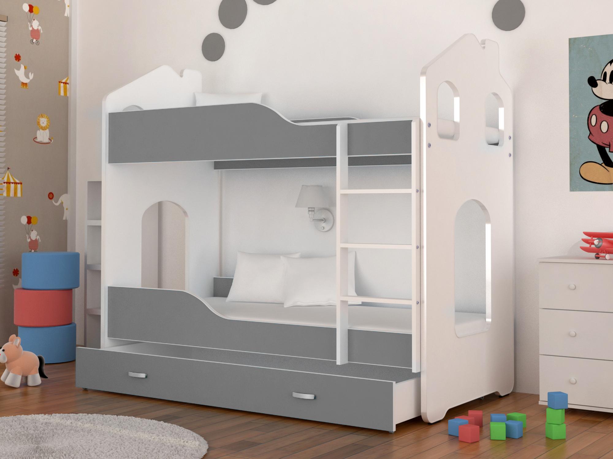 Dětská patrová postel PATRIK Domek + matrace + rošt ZDARMA, 160x80, bílá/šedá - VÝPRODEJ Č