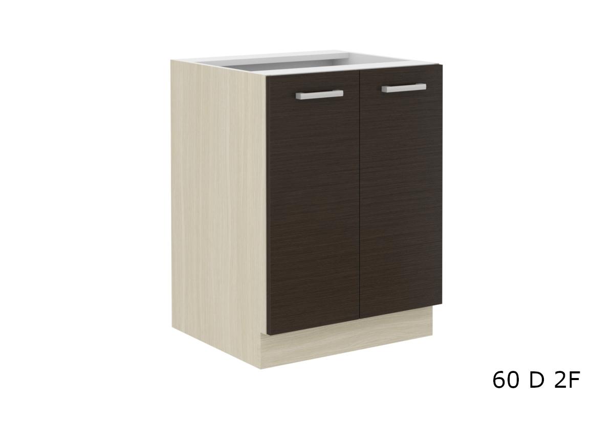Kuchyňská skříňka dolní dvoudveřová AVIGNON 60 D 2F BB, 60x82x52, dub ferrara/legno tmavé