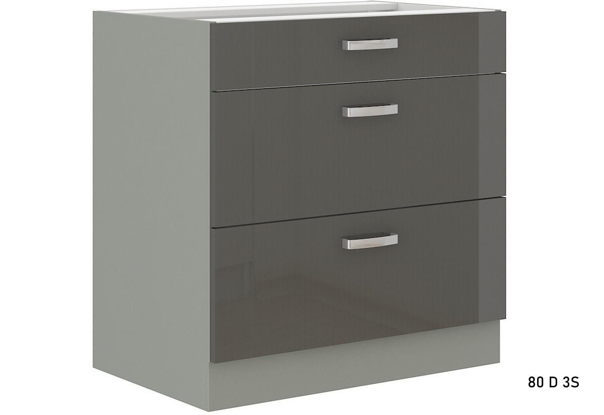 Kuchyňská skříňka dolní šuplíková široká GRISS 80 D 3S BB, 80x82x52, šedá/šedá lesk