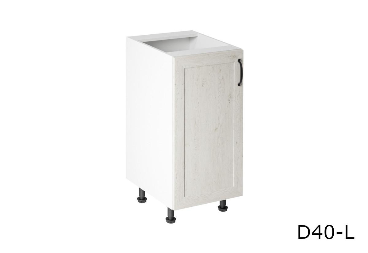 Kuchyňská skříňka dolní KINGDOM D40, 40x82x47, bílá sosna skandinávská/dub divoký, levá