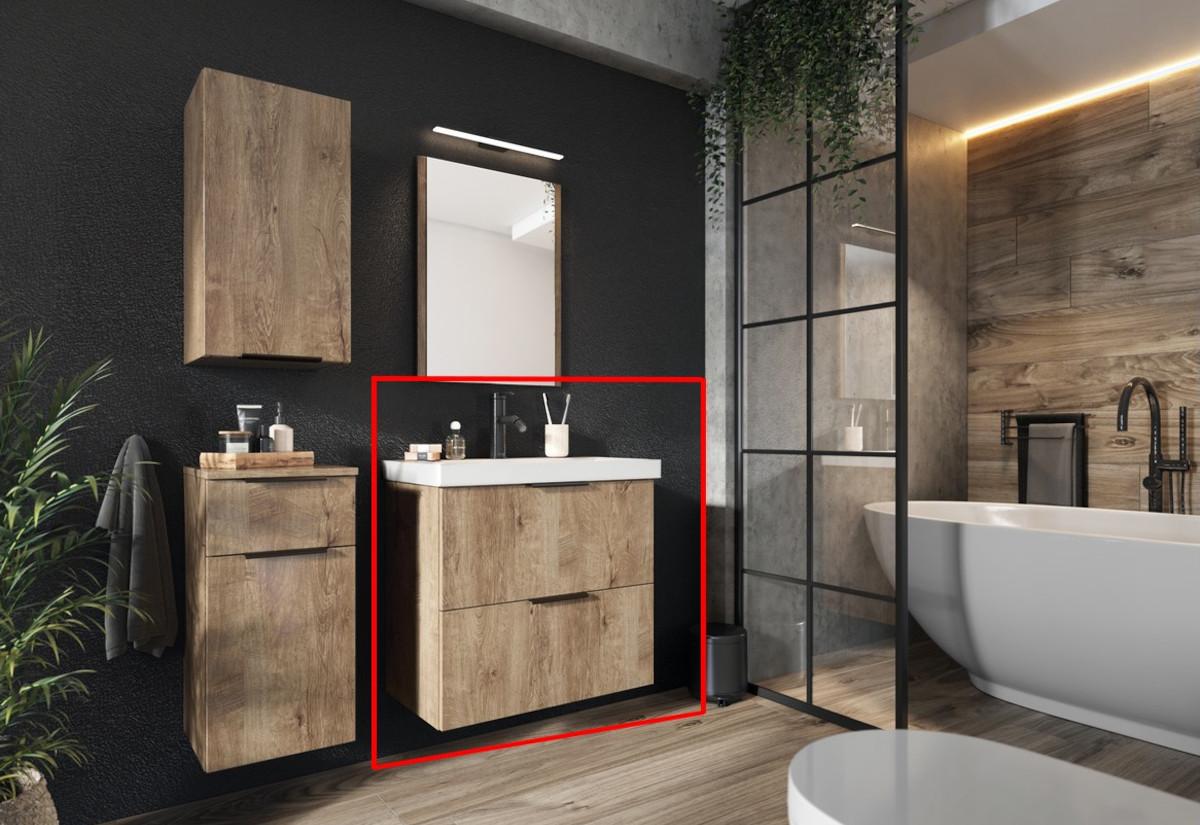 Koupelnová skříňka DUSTIN DUM VEA 49 S2 + umyvadlo, 49x60,5x37, dub lefkas