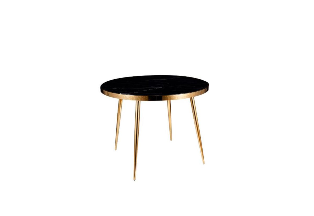 Jídelní stůl KLEIN, 100x75x100, černý mramor/zlatá