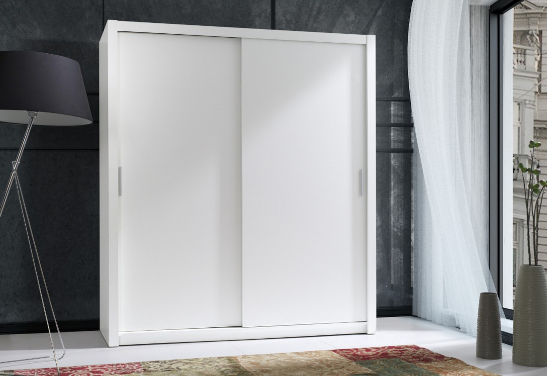 Posuvná skříň 180 LEGO korpus bílý, dveře Wenge 180x200x62 cm