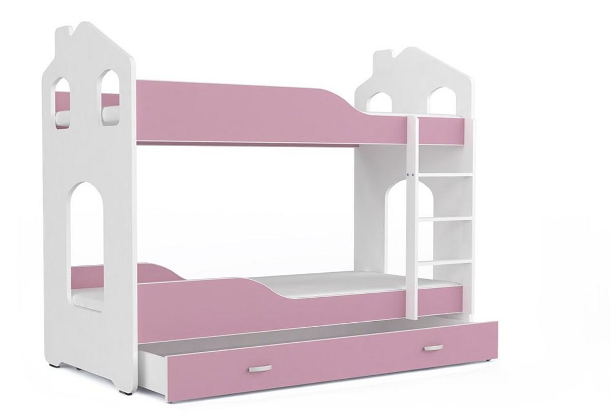 Dětská patrová postel PATRIK Domek + matrace + rošt ZDARMA, 160x80, bílá/růžová