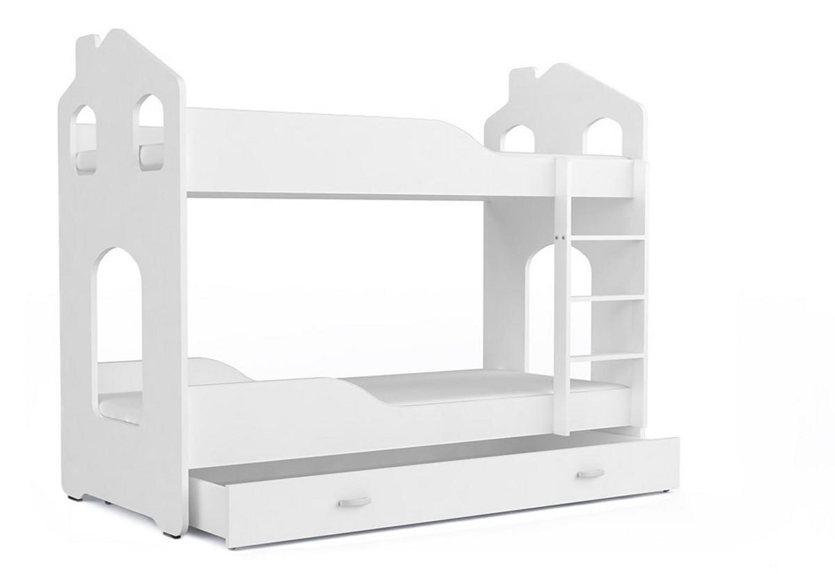 Dětská patrová postel PATRIK Domek + matrace + rošt ZDARMA, 180x80, bílá/bílá