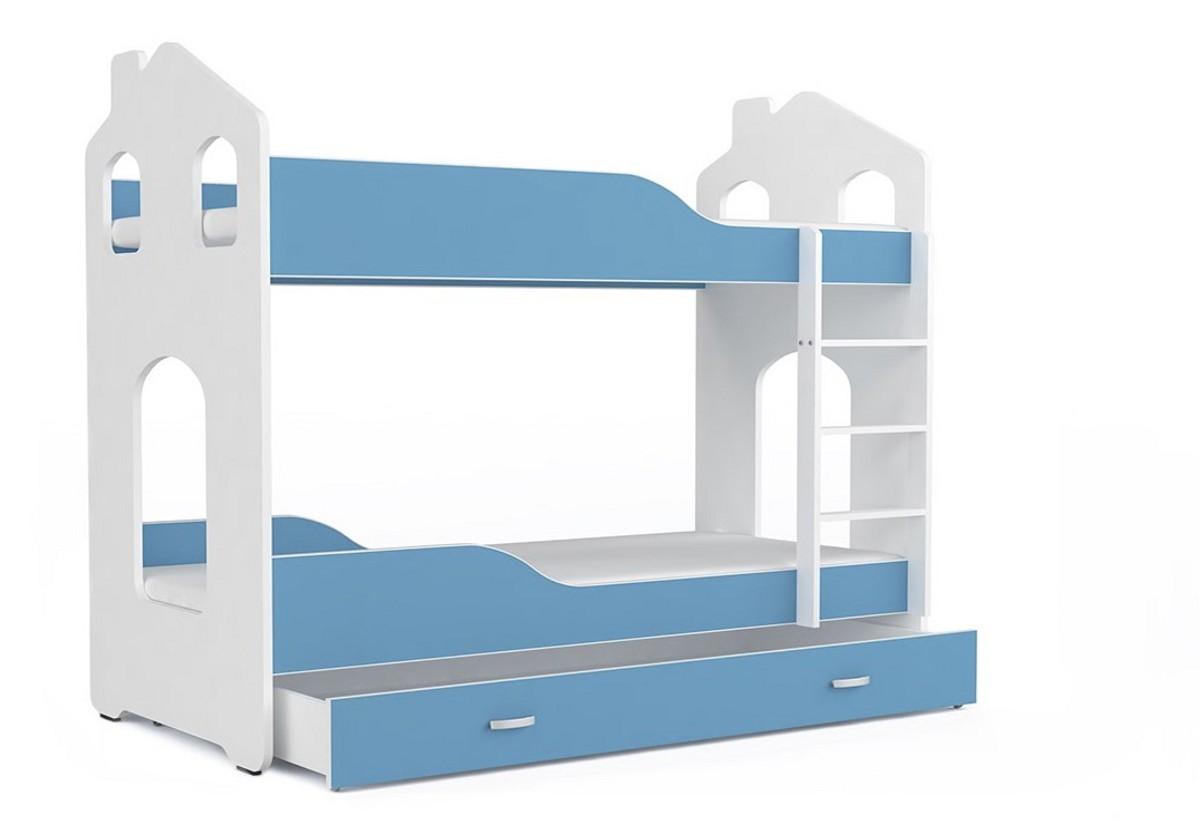 Dětská patrová postel PATRIK Domek + matrace + rošt ZDARMA, 180x80, bílá/modrá