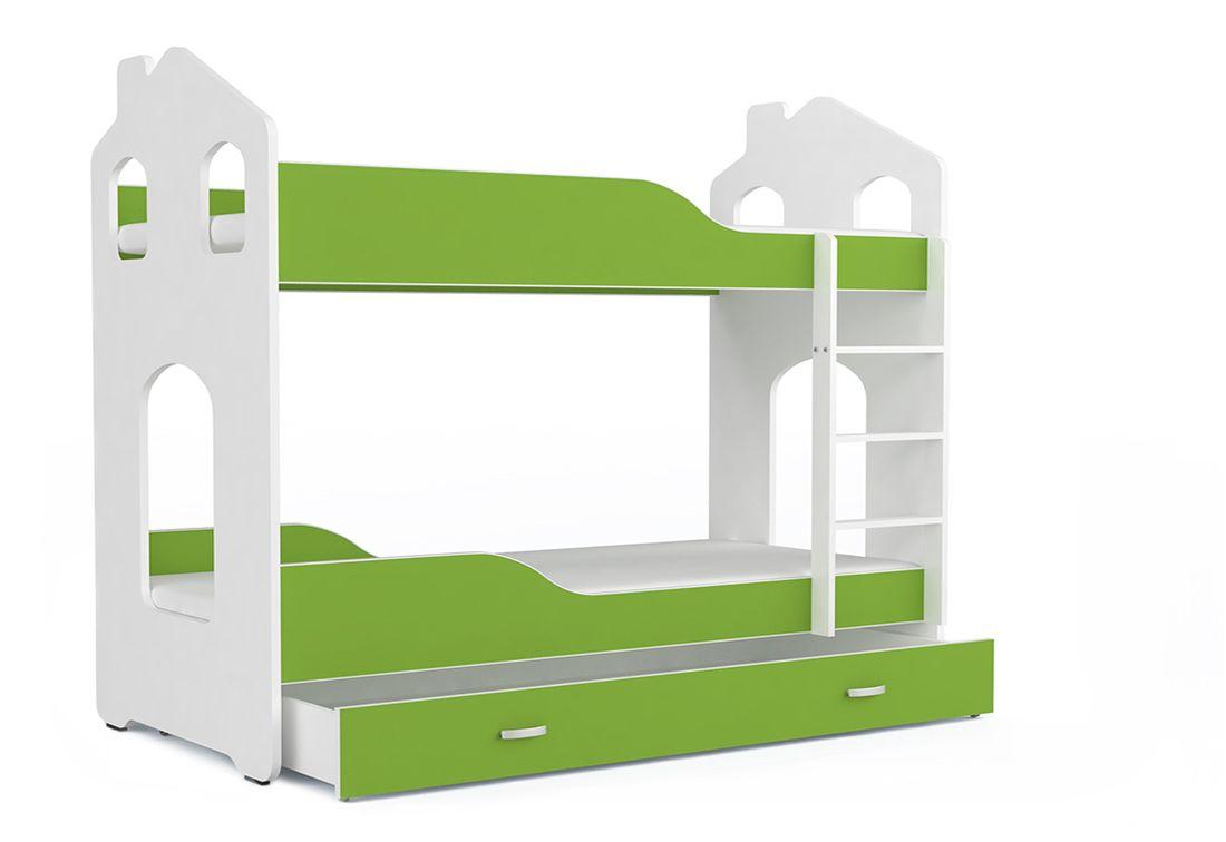 Dětská patrová postel PATRIK Domek + matrace + rošt ZDARMA, 180x80, bílá/zelená