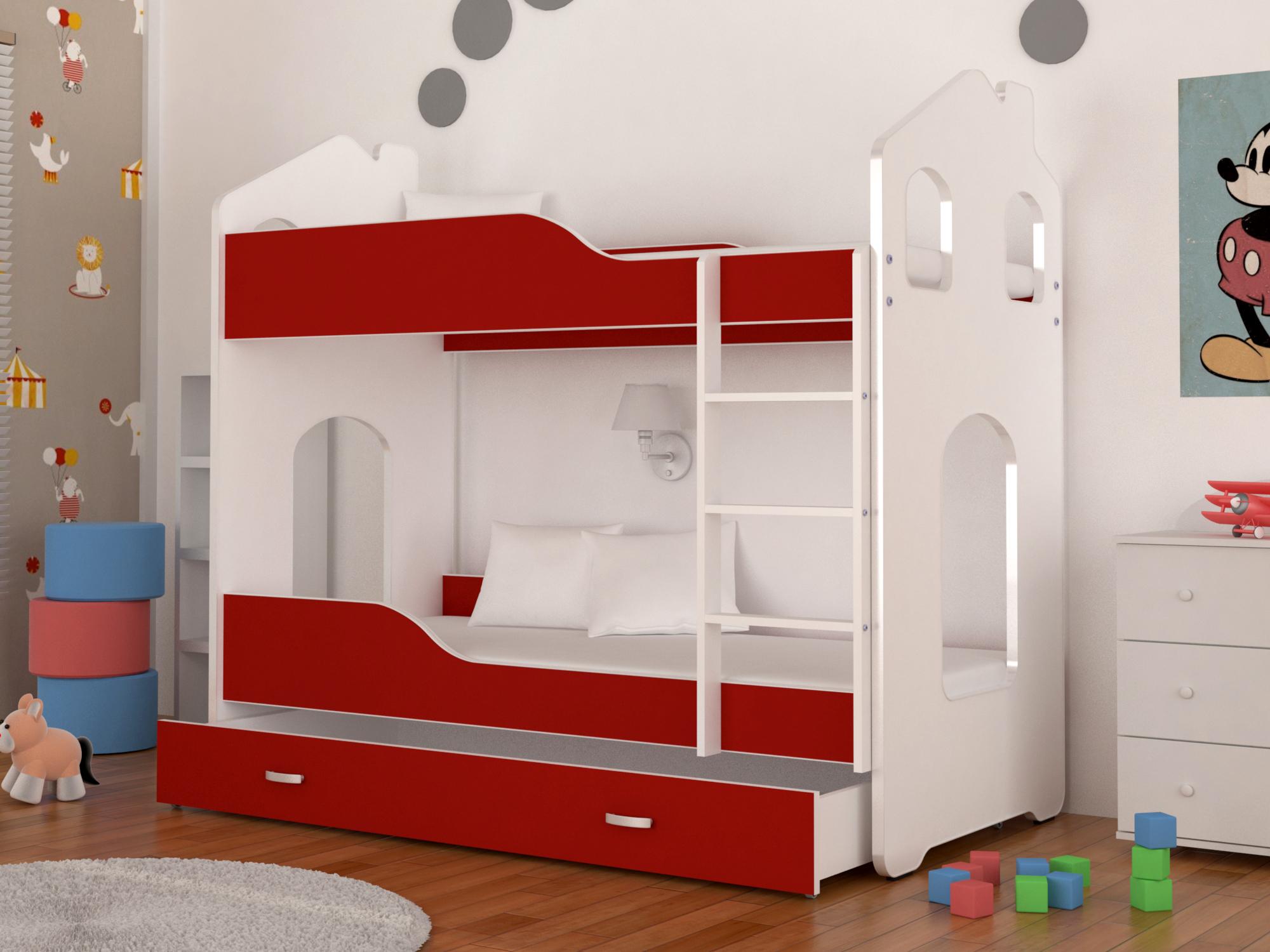 Dětská patrová postel PATRIK Domek + matrace + rošt ZDARMA, 180x80, bílá/červená