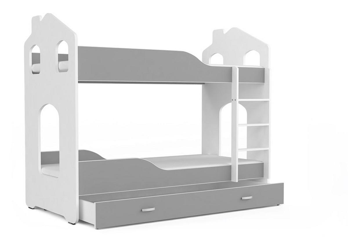 Dětská patrová postel PATRIK Domek + matrace + rošt ZDARMA, 180x80, bílá/šedá