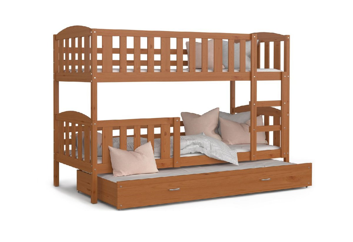 Dětská patrová postel s přistýlkou KUBA 3 + matrace + rošt ZDARMA