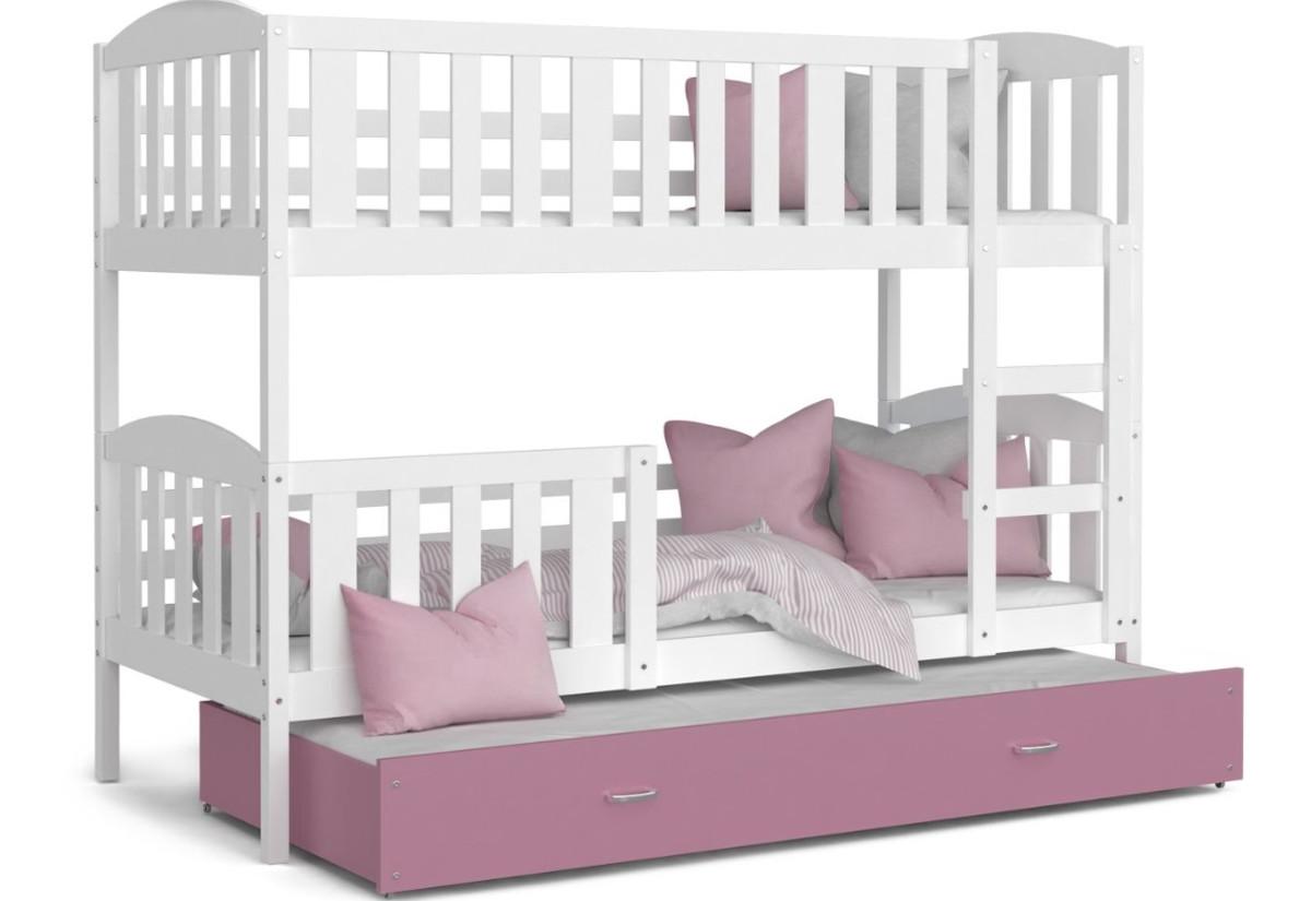 Dětská patrová postel s přistýlkou KUBA 3 color + matrace + rošt ZDARMA