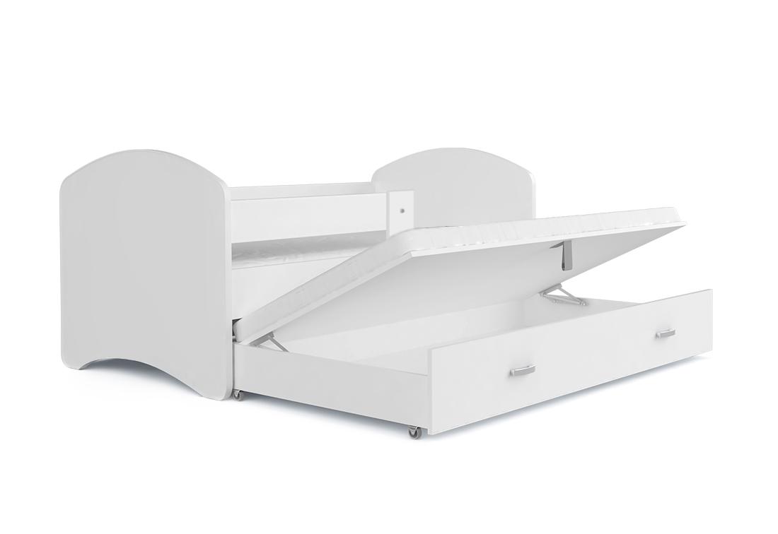 Dětská pohádková postel LUCIE P2 + matrace + rošt ZDARMA, 200x90, bílá/vzor 11