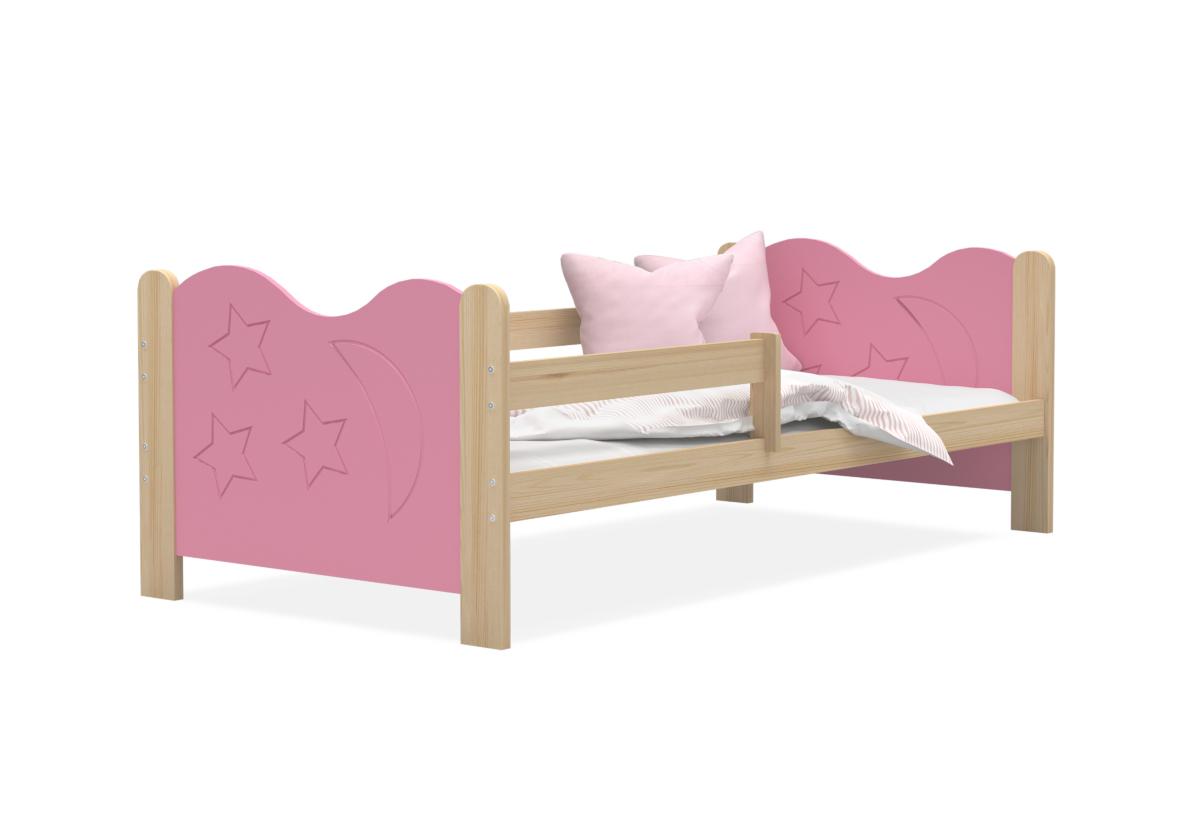 Dětská postel MICKEY + matrace + rošt ZDARMA, 160x80, borovice/růžová