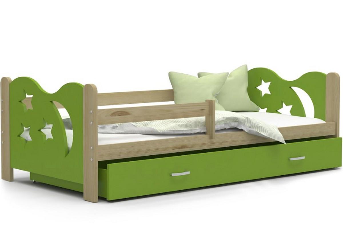 Dětská postel MICKEY + matrace + rošt ZDARMA, 160x80, borovice/zelená