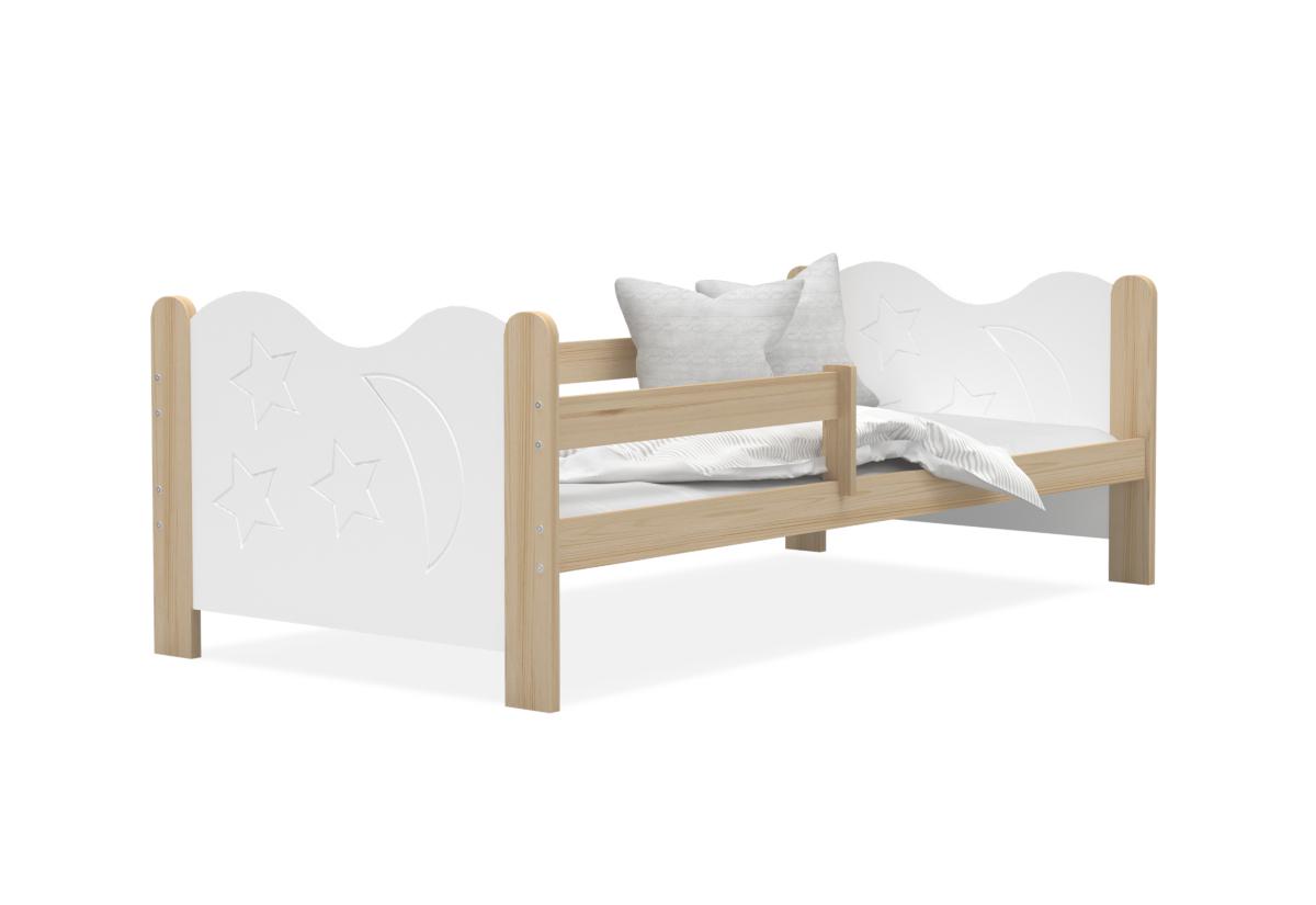 Dětská postel MICKEY + matrace + rošt ZDARMA, 160x80, borovice/bílá