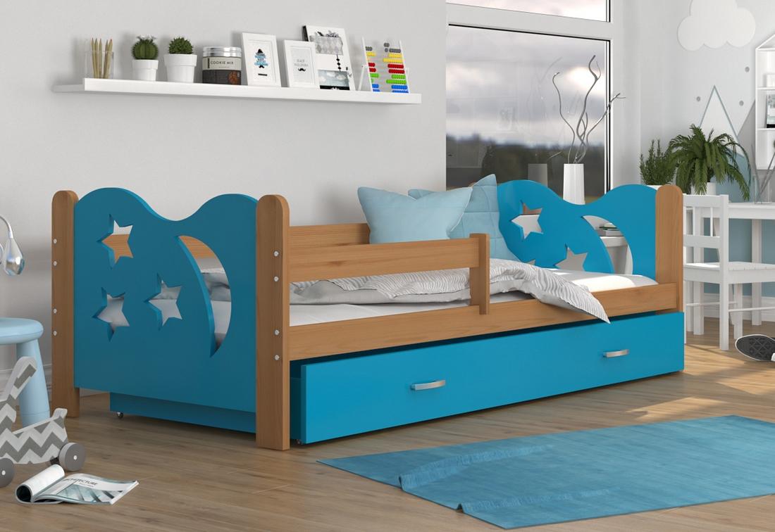 Dětská postel MICKEY + matrace + rošt ZDARMA, 160x80, olše/modrá