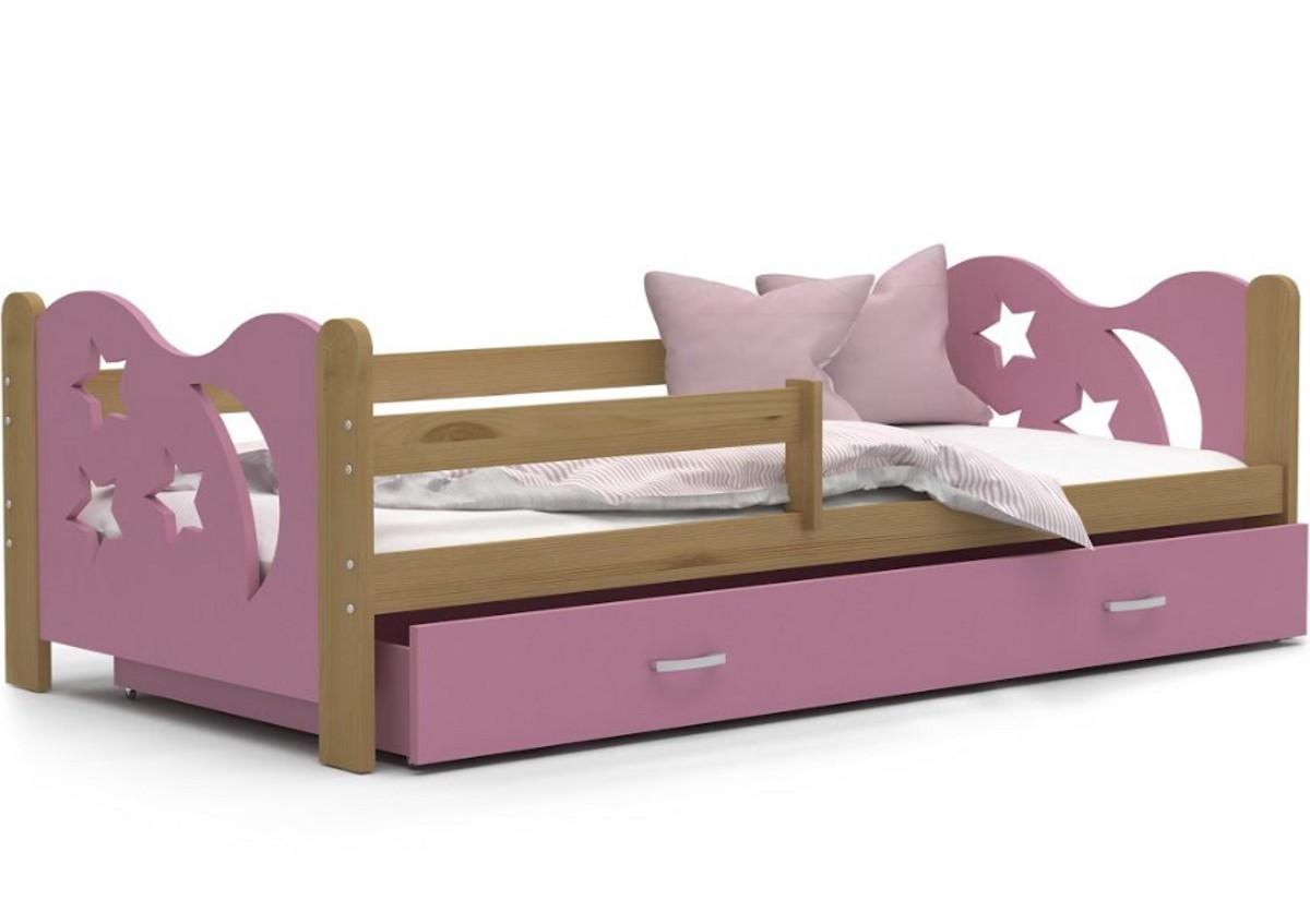 Dětská postel MICKEY + matrace + rošt ZDARMA, 160x80, olše/růžová