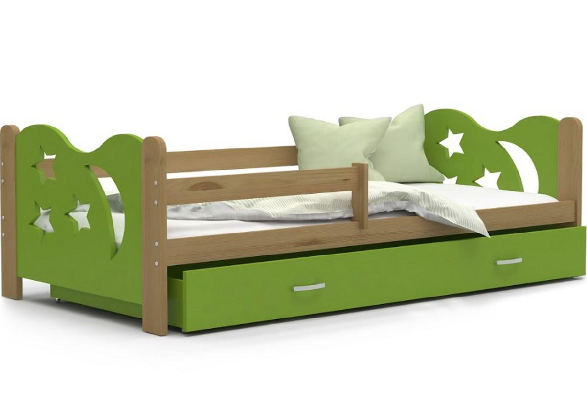 Dětská postel MICKEY + matrace + rošt ZDARMA, 160x80, olše/zelená
