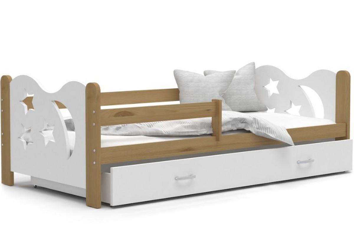 Dětská postel MICKEY + matrace + rošt ZDARMA, 160x80, olše/bílá