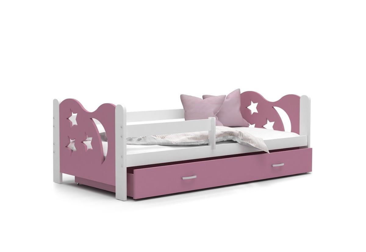 Dětská postel MICKEY color + matrace + rošt ZDARMA, 160x80, bílá/růžová