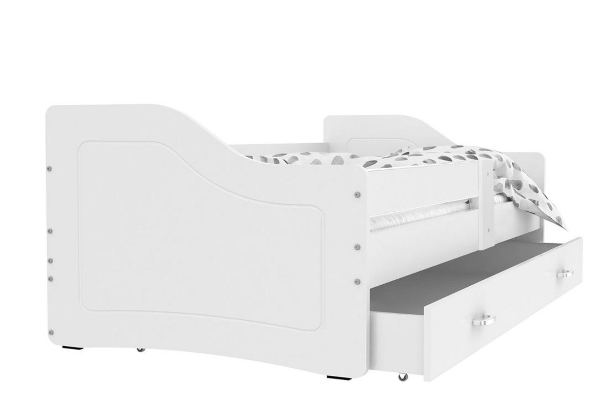 Dětská postel SWAN + matrace + rošt ZDARMA, 140x80, bílá/bílá