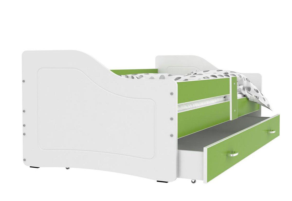 Dětská postel SWAN + matrace + rošt ZDARMA, 140x80, zelená/bílá