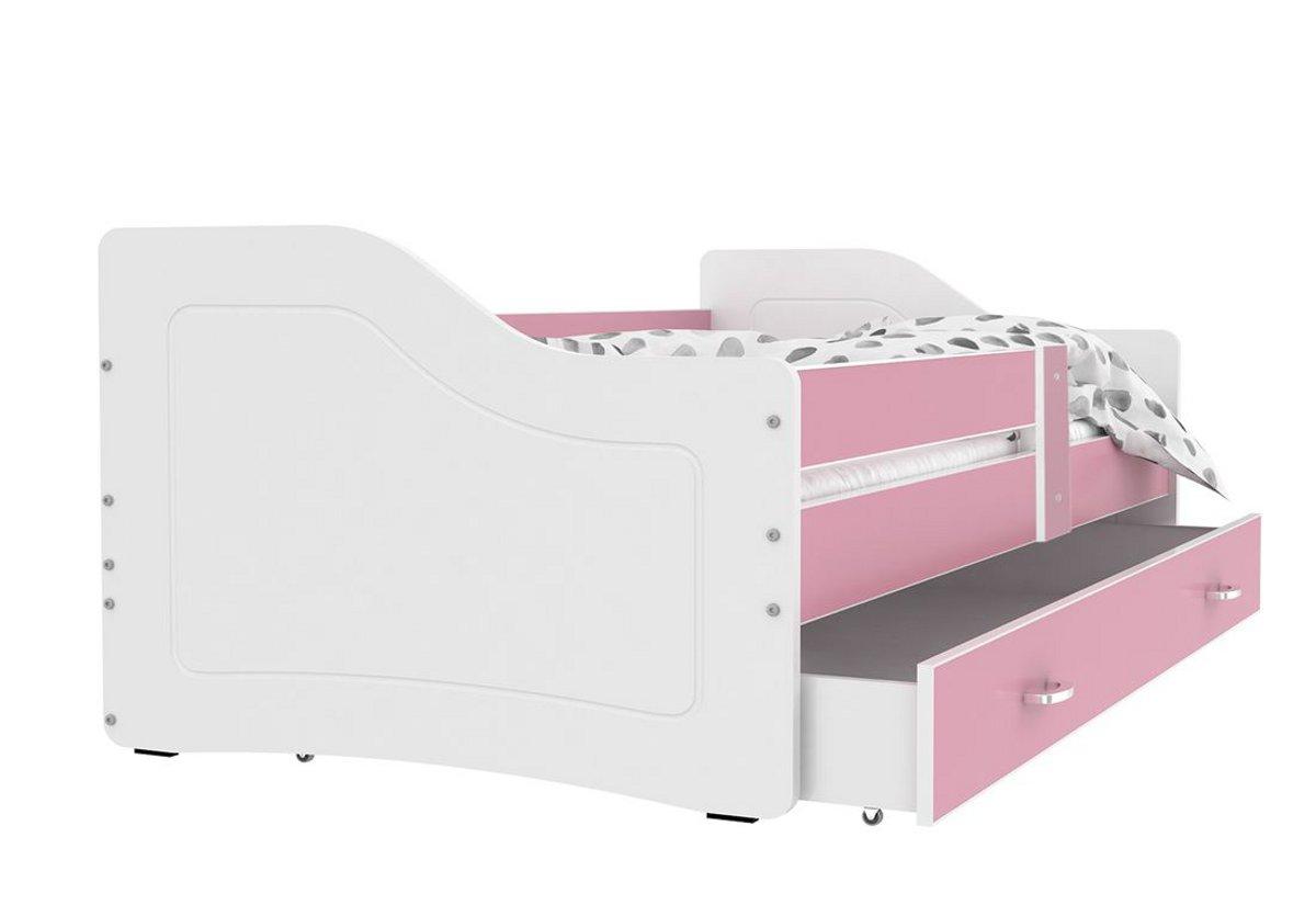 Dětská postel SWAN + matrace + rošt ZDARMA, 140x80, růžová/bílá