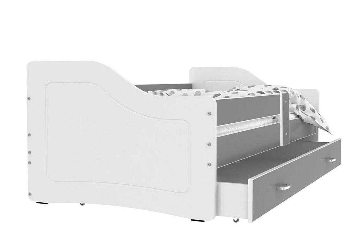 Dětská postel SWAN + matrace + rošt ZDARMA, 140x80, šedá/bílá