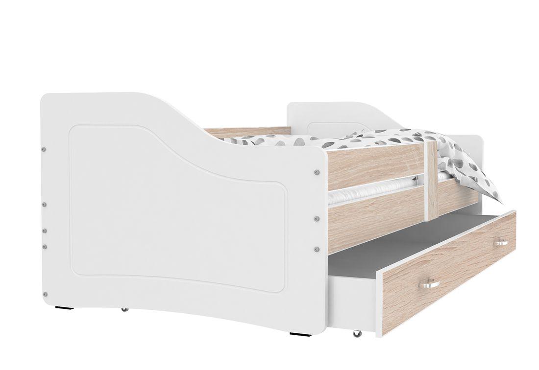 Dětská postel SWAN + matrace + rošt ZDARMA, 140x80, borovice/bílá